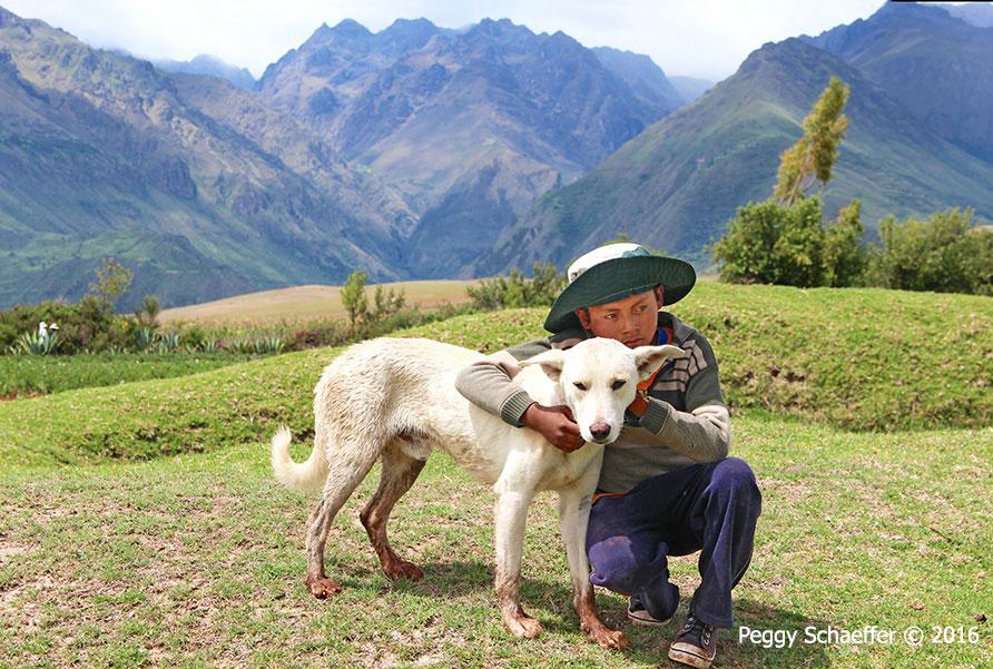 Man with dog in Peru